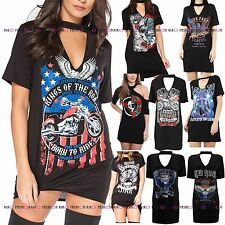WOMENS LADIES CHOKER T SHIRT NECK AMERICAN ARIZONA EAGLE PRINTED LONG TOP DRESS