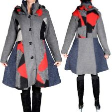 PATCHWORK WOLLE LAGENLOOK MANTEL TRENCH COAT 40 42 44 46 48 ROT M L XL XXL WARM