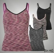 Ladies Branded USA Pro Double Straps Seamless Workout Tank Top Vest Size 8-16