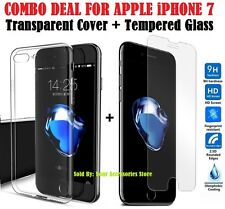 Transparent Back Cover Case and Tempered Glass COMBO for Apple iPhone 7 4.7""