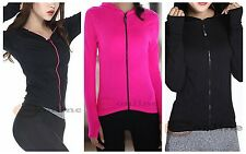 Women's Training Hood Jacket Seamless Long Sleeve Fast-drying Fabric Black