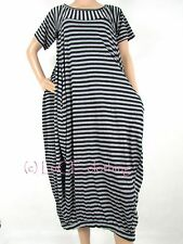 NEW Italian Short Sleeve Fine Stripe Jersey Pocket Tunic Midi Dress