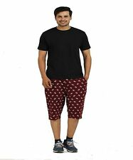 TT Maroon 100% Cotton Printed Capri