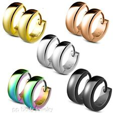 Pair Classic Plain Dome Hoop Huggie PVD Plated Surgical Stainless Steel Earrings