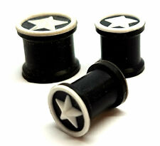 6mm, 8mm, 10mm, 12mm White Star Atop Silicone Rubber Ear Plug Tunnel Stretcher