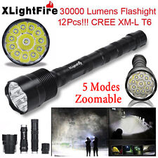 XLightFire 30000 Lumens 12x XML T6 LED Flashlight Torch 5-Mode Bright Zoom Lamp