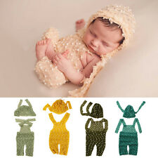 Newborn Baby Boy Girl Knit Romper Jumpsuit Hat Outfit Photo Prop Costume