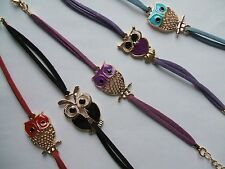 OWL BRACELETS - Faux leather bracelets with Cute Enamelled OWL Charms