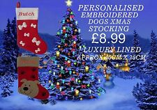 DELUX EMBROIDERED PERSONALISED DOGS CHRISTMAS STOCKING GIFT XMAS
