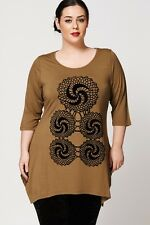 Ladies Top Women Plus Size Clothing Handkerchief Mosaic Pattern Urban Chic Look