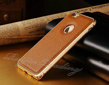 Aluminium Bumper with Genuine Leather Back Case Cover For iPhone 5 6 6 PLUS