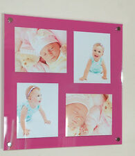 "ACRYLIC 24x24""x10mm GLOSS picture PHOTO FRAME for 4x 10x7"" foto pixi all colours"