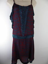 TED BAKER 100% silk dress Size 2 10 36 teal red flapper style beaded strappy