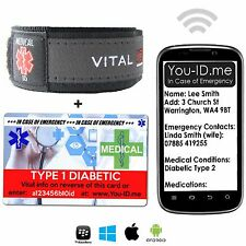 Diabetes Type 1 SMS Medical Alert ID Bracelet Identity Card Emergency Men Women