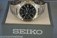 Seiko Chronograph. Military style, 7t92-0FX0. Steel, black dial, circa June 2005