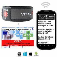 COPD Medical Alert ID Bracelet Card Emergency SMS Text Alert Service Smartphone