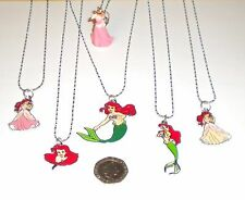 DISNEY PRINCESS THE LITTLE MERMAID ENAMEL PENDANT 925 STERLING SILVER NECKLACE