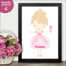 Personalised Love Heart Word Art Print Birthday Mothers Day Gifts for Her Mum