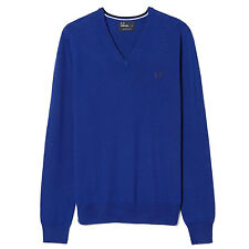 Fred Perry Classic Tipped V-Neck Pullover Sweater Mens Blue Sweatshirt K7210-139
