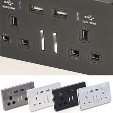 USB 2 Way UK Charging Phone Charger Plug Socket Wall Outlet Connection Plate