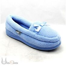 NEW LADIES WOMENS NEW FLUFFY TOWELING SLIPPERS BLUE OR PINK SIZE