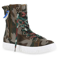 Damen Sneakers Camouflage Sneakerstiefel Zipper Prints Schuhe 814914 Top