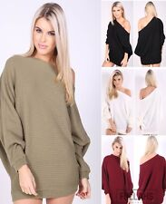 UK Womens Off Shoulder Baggy Ladies Tops Chunky Knitted Oversized Sweater Jumper