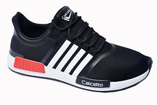 Calcetto Brand Mens Black White Sports Shoes 7561