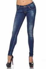 Sexy jeans donna blu denim strass pantalone skinny slim-fit femminile uy 14430