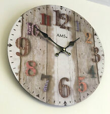 Vintage Distressed Wood Effect Wall Clock Rustic Retro Shabby Chic Kitchen Cafe