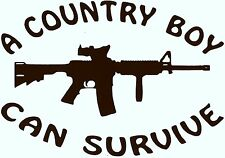 """A COUNTRY BOY CAN SURVIVE"" w/ M4D1  Vinyl Decal  U Pick Size & Color(23 di"