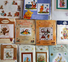 Cross Stitch Kits TEDDIES - POPCORN - POOH - NEWTON - CHARLIE (Margaret Sherry)