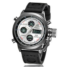 OHSEN Calendar Sport Time Dual Military Outdoor Rubber Band Quartz Wrist Watch