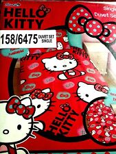 HELLO KITTY SINGLE DUVET COVER AND ONE PILLOW COVER BEDDING SET FOR CHILDREN