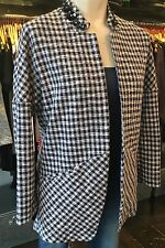 SAVE THE QUEEN BLUE AND WHITE DOOGTOOTH OPEN SLOUCH JACKET XS,S,M £199