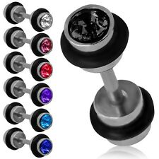2 Fakeplugs Piercing Ohrstecker Fake Tunnel Plug Ohrring Helix Strass Edelstahl