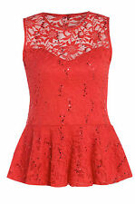 Womens Plus Size Red Floral Lace Design Sequin Peplum Top