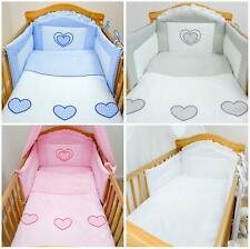 3 Pce Baby Bedding Bumper Set Duvet Pillow Cover Fit Cot Cotbed Heart Embroidery