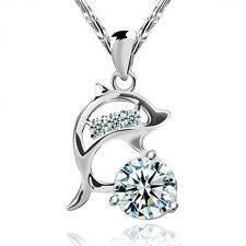 FASHIONS FOREVER® 925 Sterling Silver Dolphin Cubic-Zirconia Necklace-Pendant