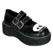 DEMONIA EMILY 222 Goth Punk Lolita Mary Jane Black Shoes 2 Buckle White Skull