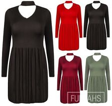New Womens Cut Out Plunge V Neck collar Choker High Neck Dress Swing Plus Size