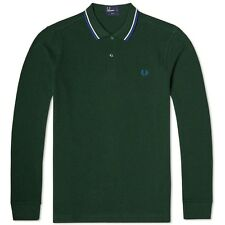 Fred Perry Men's Long Sleeve Twin Tipped Polo Shirt Top M1392-149 IVY GREEN MARL