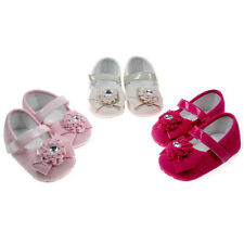 Baby girl suede diamante flower bow non slip pram shoes 0-3 3-6 6-12 months