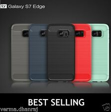 Brushed Carbon Fibre TPU Back Cover Case For Samsung Galxy S7 Edge