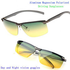 Men Aluminum Polarized Sunglasses Goggles Day & Night vision Driving Glasses