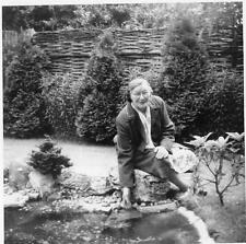 Old Vintage Photograph B&W Photo Older Lady In Garden With Pond 1950s 1960s