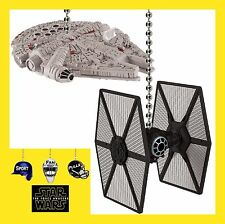 STAR WARS MILLENNIUM FALCON & A FIRST ORDER TIE FIGHTER CEILING FAN PULLS SET