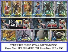 Choose Your STAR WARS Force Attax 2017 UNIVERSE HOLOGRAPHIC FOIL Cards Topps