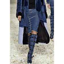 Auth NIB $3K Tom Ford Patchwork Denim & Leather Knee High Boots 36.5 37.5