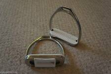 RHINEGOLD STAINLESS STEEL FILLIS STIRRUP IRONS WITH WHITE TREADS VARIOUS SIZES
